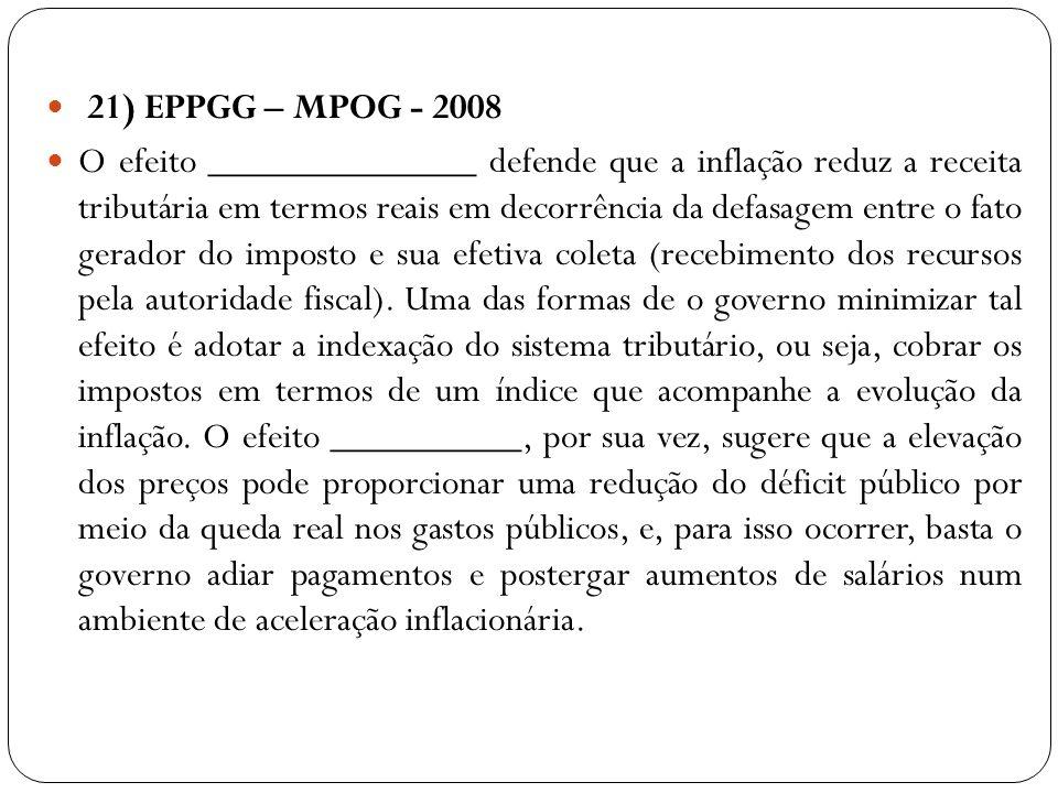 21) EPPGG – MPOG - 2008 O efeito ______________ defende que a inflação reduz a receita tributária em termos reais em decorrência da defasagem entre o