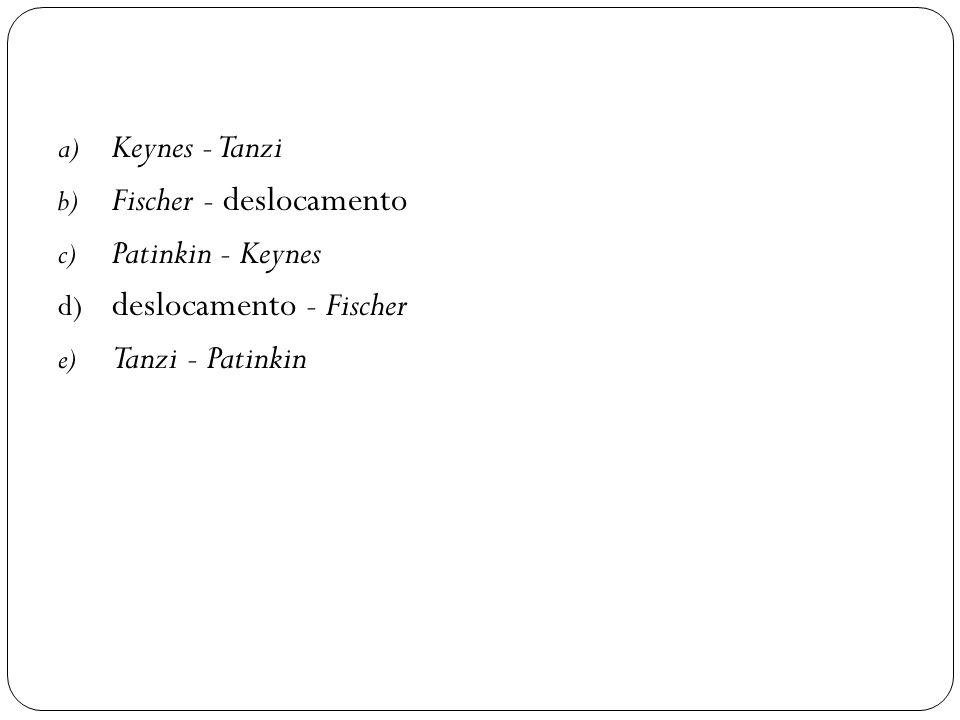 a) Keynes - Tanzi b) Fischer - deslocamento c) Patinkin - Keynes d) deslocamento - Fischer e) Tanzi - Patinkin
