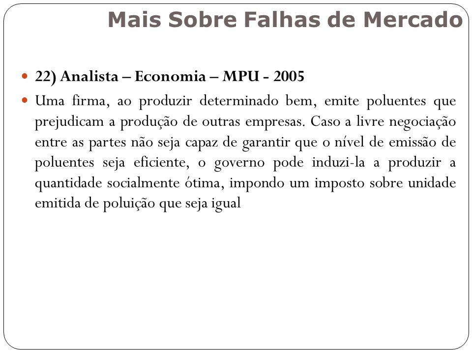 22) Analista – Economia – MPU - 2005 Uma firma, ao produzir determinado bem, emite poluentes que prejudicam a produção de outras empresas. Caso a livr