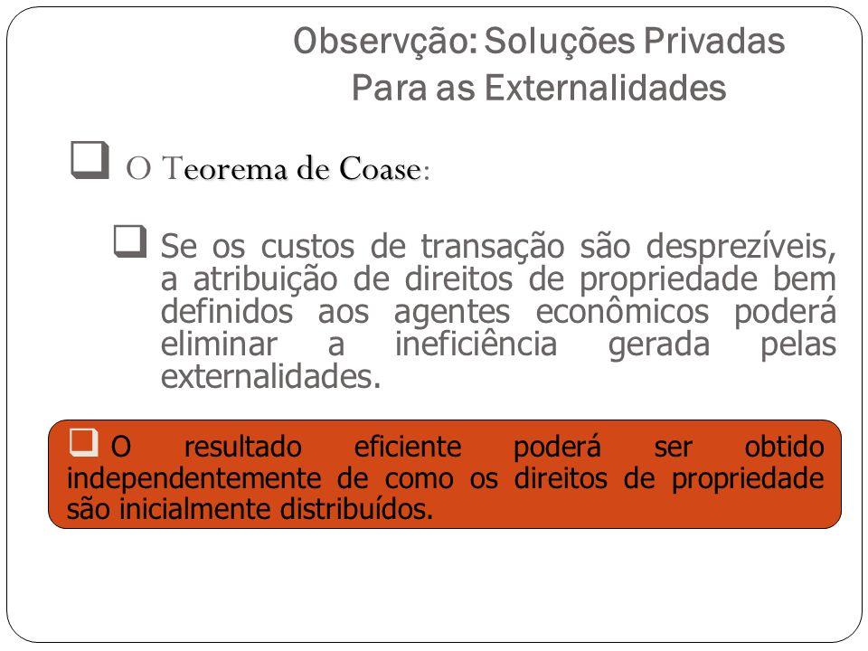Observção: Soluções Privadas Para as Externalidades eorema de Coase O Teorema de Coase: Se os custos de transação são desprezíveis, a atribuição de di