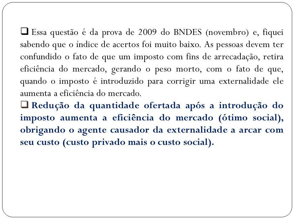 Essa questão é da prova de 2009 do BNDES (novembro) e, fiquei sabendo que o índice de acertos foi muito baixo. As pessoas devem ter confundido o fato