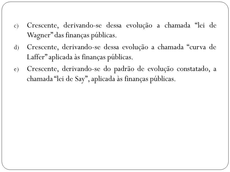 c) Crescente, derivando-se dessa evolução a chamada lei de Wagner das finanças públicas. d) Crescente, derivando-se dessa evolução a chamada curva de