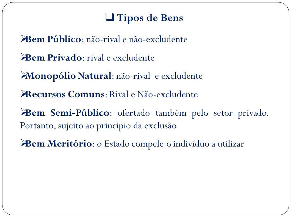 Tipos de Bens Bem Público: não-rival e não-excludente Bem Privado: rival e excludente Monopólio Natural: não-rival e excludente Recursos Comuns: Rival