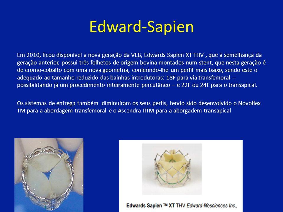 Edward-Sapien Em 2010, ficou disponível a nova geração da VEB, Edwards Sapien XT THV, que à semelhança da geração anterior, possui três folhetos de origem bovina montados num stent, que nesta geração é de cromo-cobalto com uma nova geometria, conferindo-lhe um perfil mais baixo, sendo este o adequado ao tamanho reduzido das bainhas introdutoras: 18F para via transfemoral – possibilitando já um procedimento inteiramente percutâneo – e 22F ou 24F para o transapical.