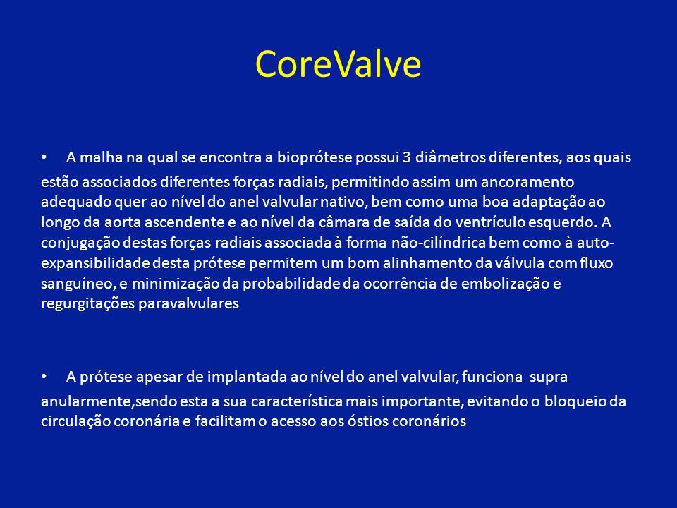 CoreValve A malha na qual se encontra a bioprótese possui 3 diâmetros diferentes, aos quais estão associados diferentes forças radiais, permitindo assim um ancoramento adequado quer ao nível do anel valvular nativo, bem como uma boa adaptação ao longo da aorta ascendente e ao nível da câmara de saída do ventrículo esquerdo.