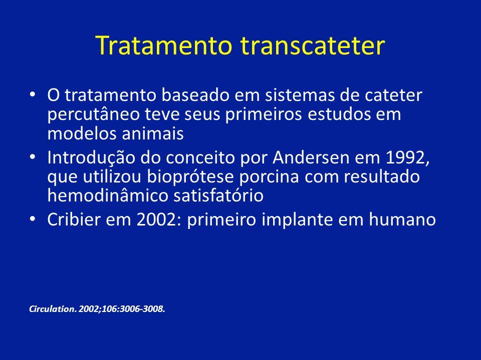Tratamento transcateter O tratamento baseado em sistemas de cateter percutâneo teve seus primeiros estudos em modelos animais Introdução do conceito por Andersen em 1992, que utilizou bioprótese porcina com resultado hemodinâmico satisfatório Cribier em 2002: primeiro implante em humano Circulation.