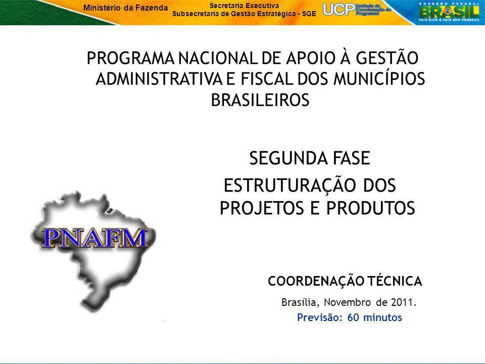 Ministério da Fazenda Secretaria Executiva Subsecretaria de Gestão Estratégica - SGE 1 Brasília, Novembro de 2011.