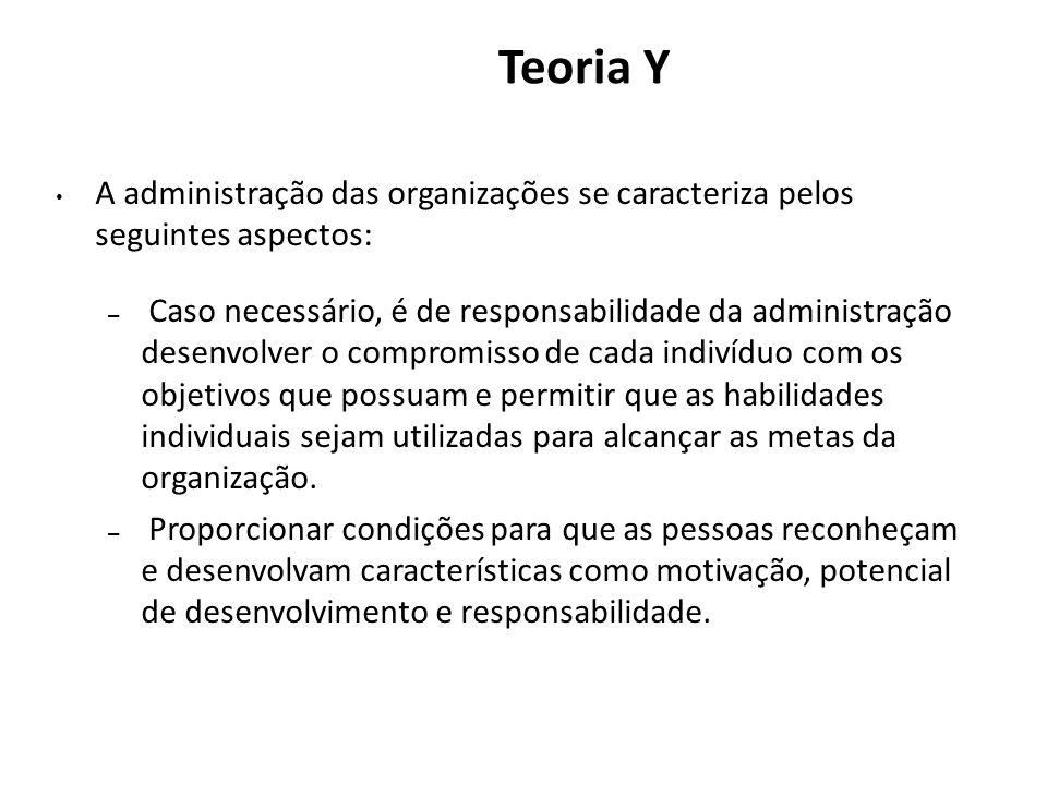Teoria Y A administração das organizações se caracteriza pelos seguintes aspectos: – Caso necessário, é de responsabilidade da administração desenvolv