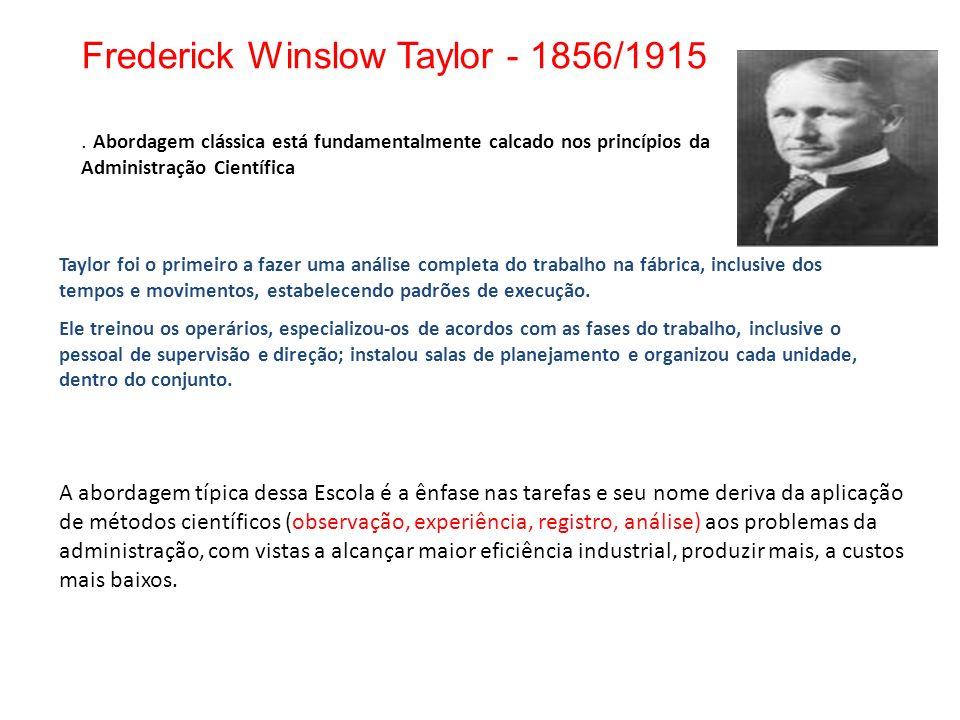 Frederick Winslow Taylor - 1856/1915. Abordagem clássica está fundamentalmente calcado nos princípios da Administração Científica A abordagem típica d