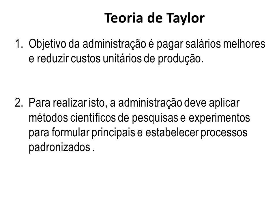1.Objetivo da administração é pagar salários melhores e reduzir custos unitários de produção. 2.Para realizar isto, a administração deve aplicar métod