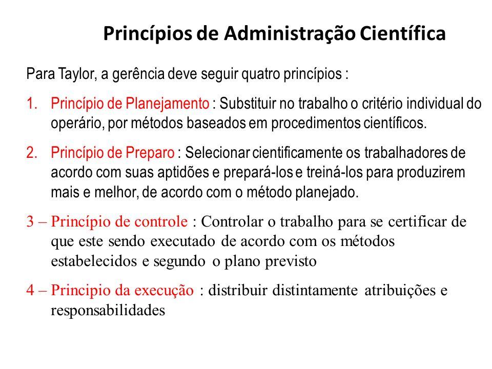 Para Taylor, a gerência deve seguir quatro princípios : 1.Princípio de Planejamento : Substituir no trabalho o critério individual do operário, por mé