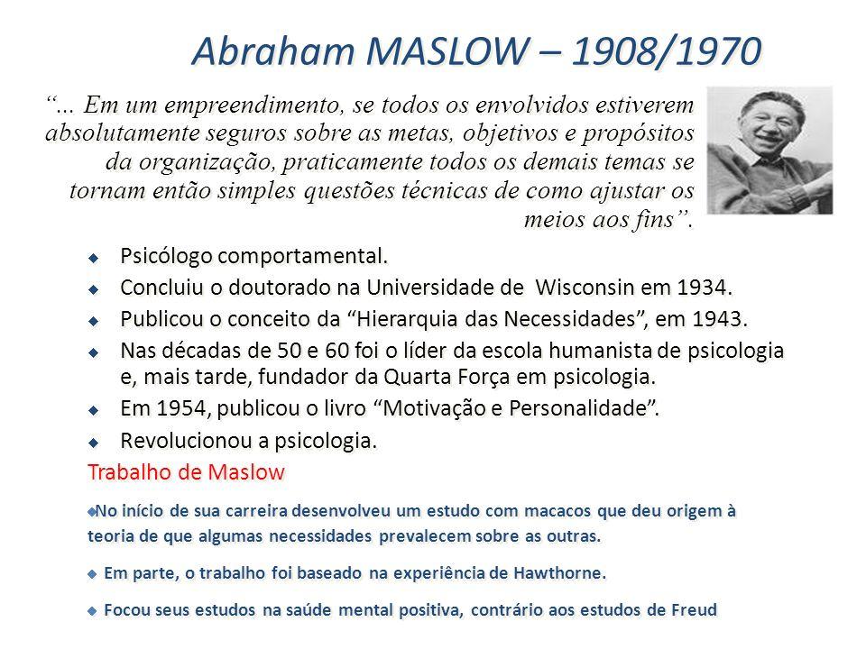 Abraham MASLOW – 1908/1970 Psicólogo comportamental. Concluiu o doutorado na Universidade de Wisconsin em 1934. Publicou o conceito da Hierarquia das
