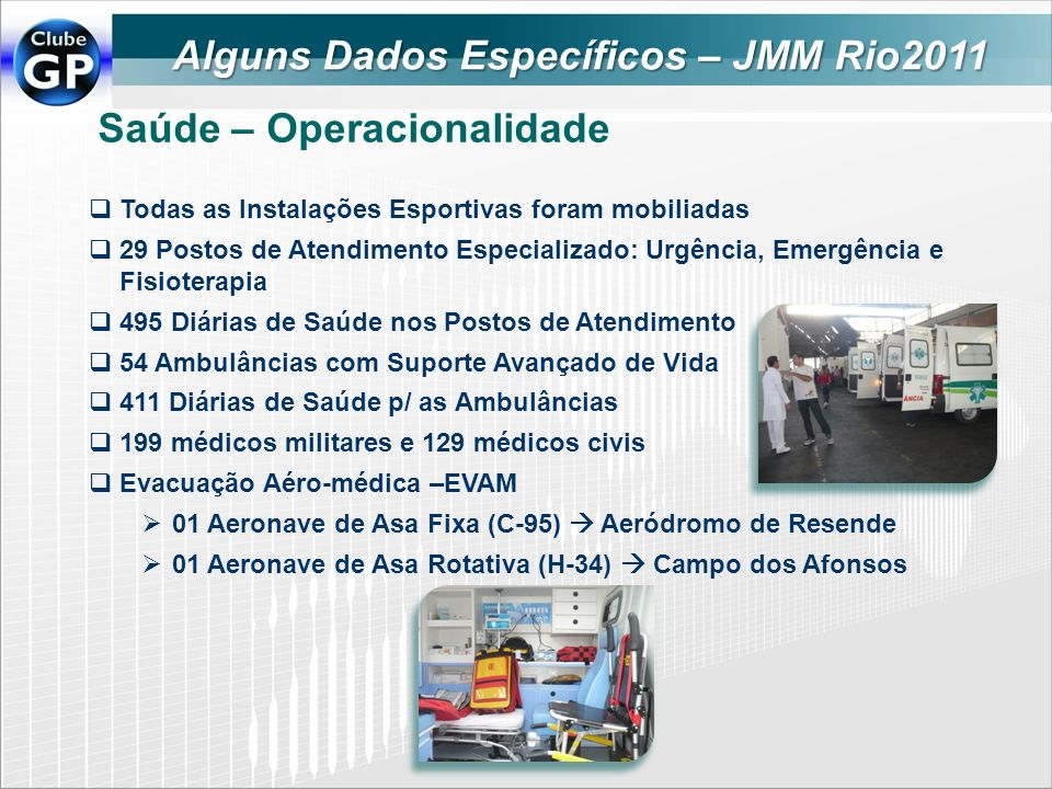 Saúde – Operacionalidade Todas as Instalações Esportivas foram mobiliadas 29 Postos de Atendimento Especializado: Urgência, Emergência e Fisioterapia