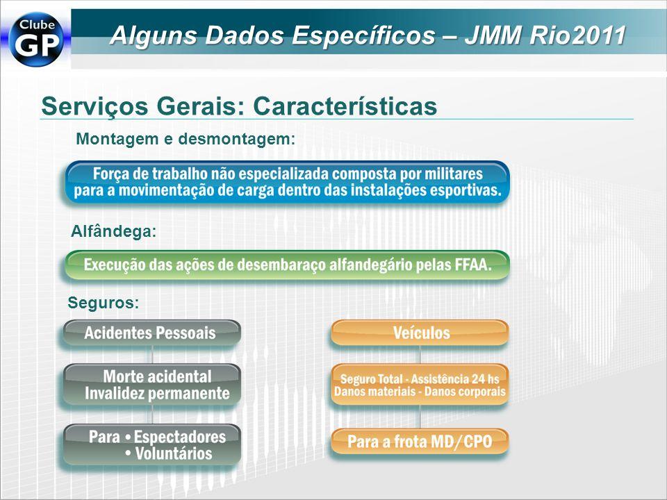 Serviços Gerais: Características Montagem e desmontagem: Alfândega: Seguros: Alguns Dados Específicos – JMM Rio2011