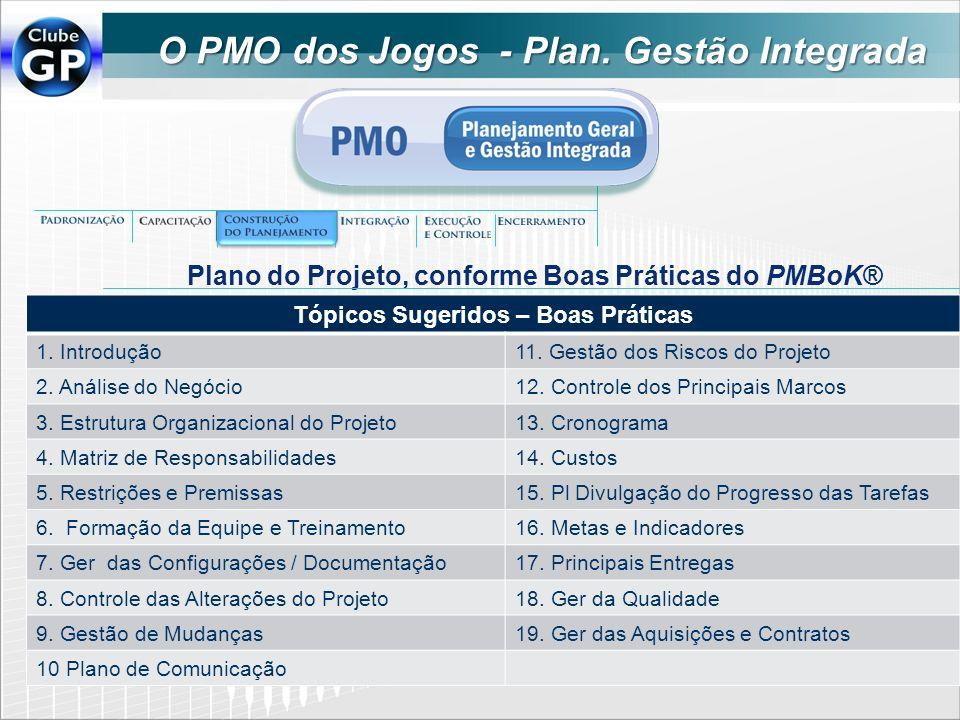O PMO dos Jogos - Plan. Gestão Integrada Tópicos Sugeridos – Boas Práticas 1. Introdução11. Gestão dos Riscos do Projeto 2. Análise do Negócio12. Cont