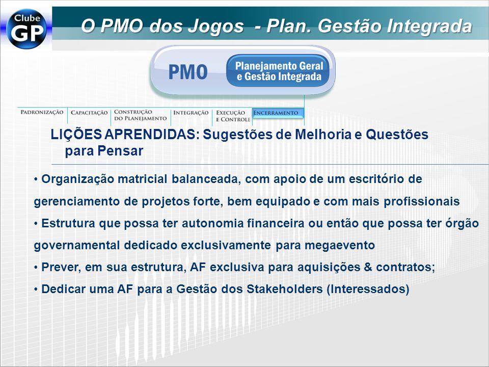 O PMO dos Jogos - Plan. Gestão Integrada LIÇÕES APRENDIDAS: Sugestões de Melhoria e Questões para Pensar Organização matricial balanceada, com apoio d