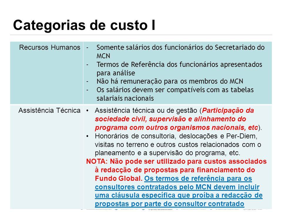 Categorias de custo I Recursos Humanos -Somente salários dos funcionários do Secretariado do MCN -Termos de Referência dos funcionários apresentados p
