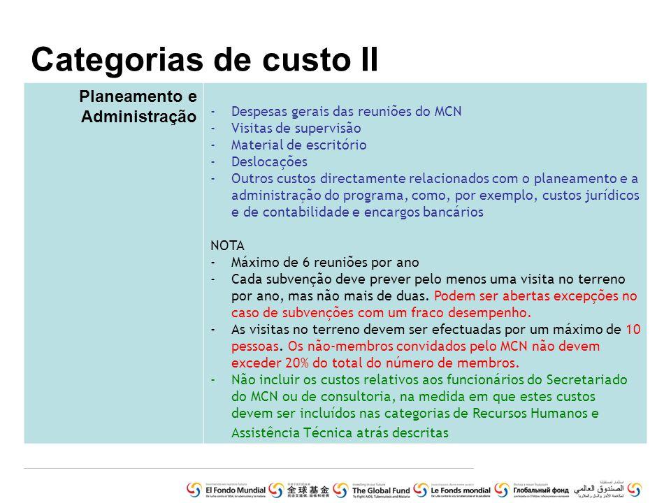 Categorias de custo II Planeamento e Administração -Despesas gerais das reuniões do MCN -Visitas de supervisão -Material de escritório -Deslocações -O