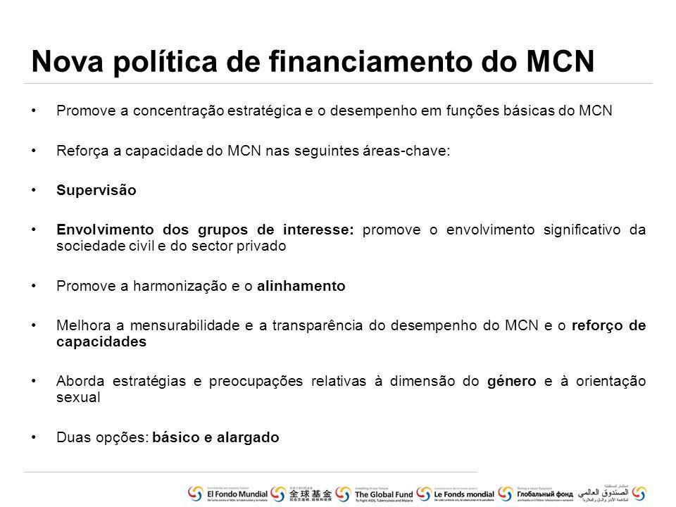 Nova política de financiamento do MCN Promove a concentração estratégica e o desempenho em funções básicas do MCN Reforça a capacidade do MCN nas segu