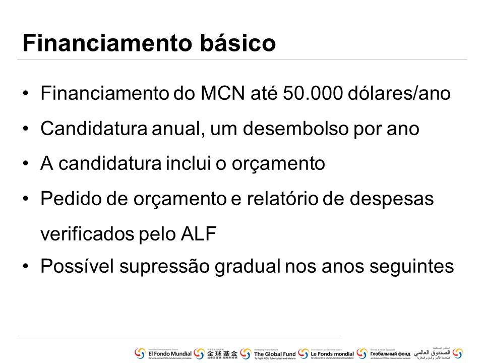 Financiamento básico Financiamento do MCN até 50.000 dólares/ano Candidatura anual, um desembolso por ano A candidatura inclui o orçamento Pedido de o