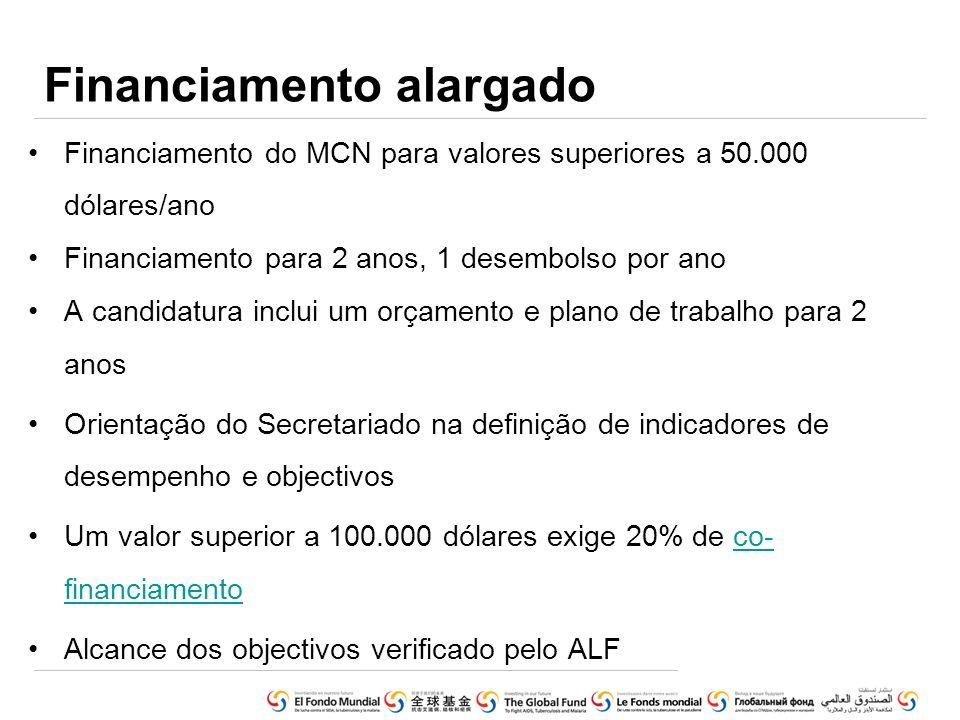 Financiamento alargado Financiamento do MCN para valores superiores a 50.000 dólares/ano Financiamento para 2 anos, 1 desembolso por ano A candidatura
