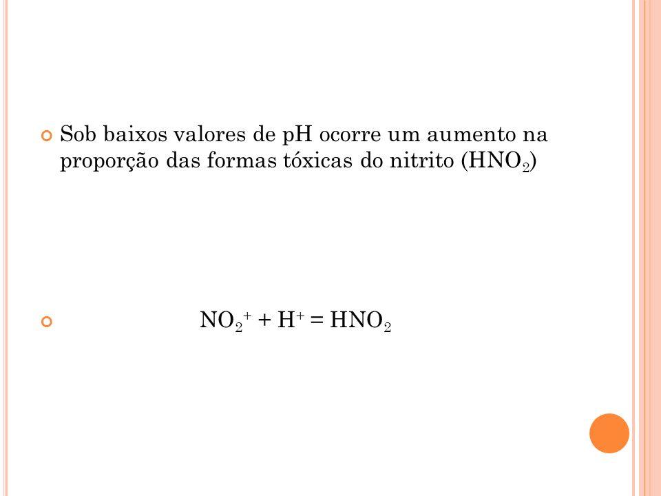 Sob baixos valores de pH ocorre um aumento na proporção das formas tóxicas do nitrito (HNO 2 ) NO 2 + + H + = HNO 2
