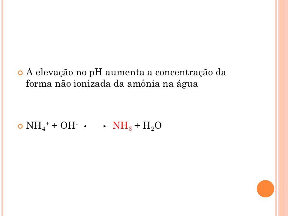 A elevação no pH aumenta a concentração da forma não ionizada da amônia na água NH 4 + + OH - NH 3 + H 2 O