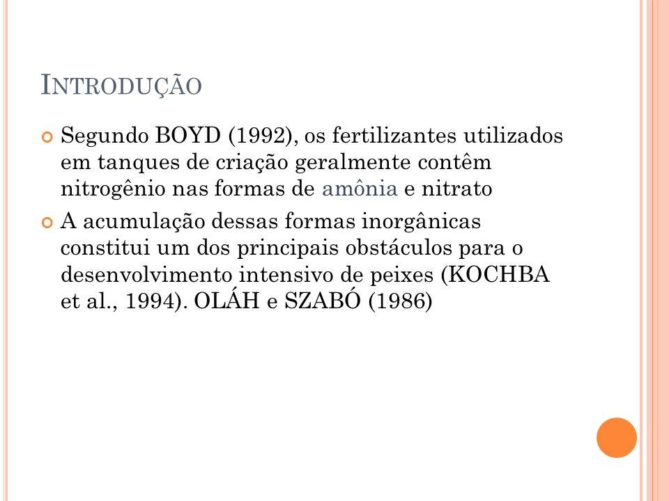 I NTRODUÇÃO Segundo BOYD (1992), os fertilizantes utilizados em tanques de criação geralmente contêm nitrogênio nas formas de amônia e nitrato A acumulação dessas formas inorgânicas constitui um dos principais obstáculos para o desenvolvimento intensivo de peixes (KOCHBA et al., 1994).