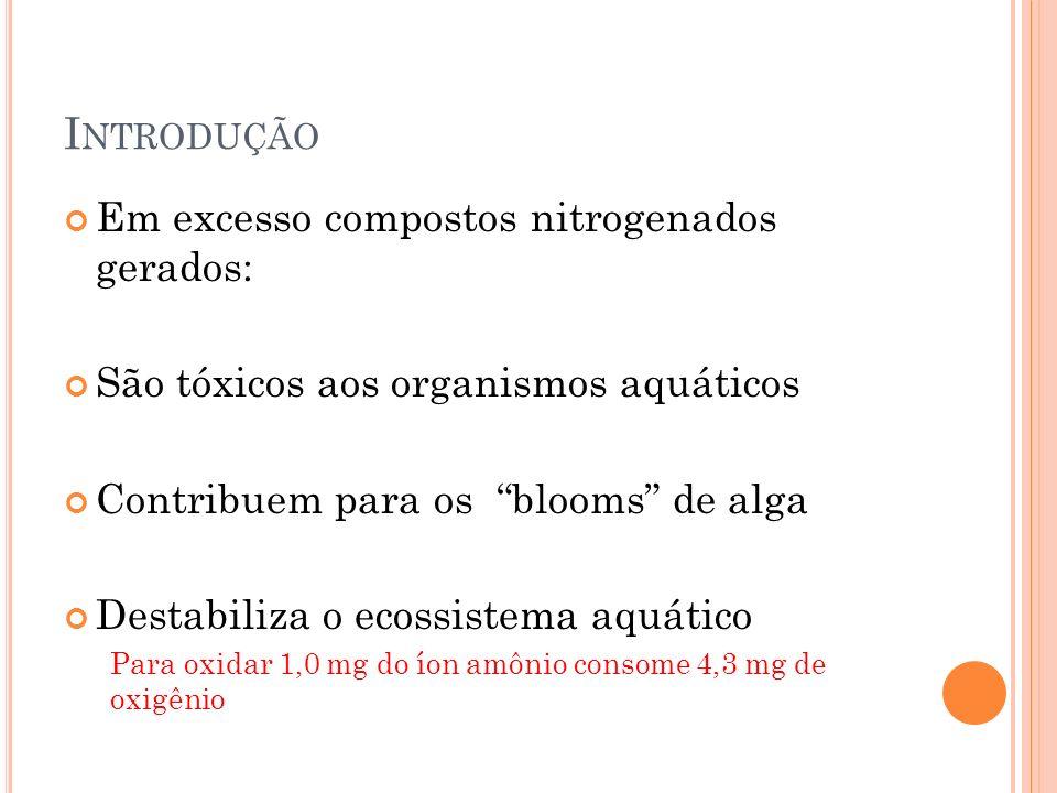 I NTRODUÇÃO Em excesso compostos nitrogenados gerados: São tóxicos aos organismos aquáticos Contribuem para os blooms de alga Destabiliza o ecossistema aquático Para oxidar 1,0 mg do íon amônio consome 4,3 mg de oxigênio