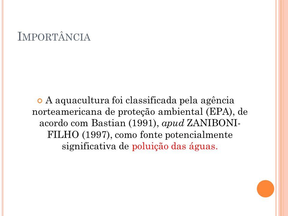 I MPORTÂNCIA A aquacultura foi classificada pela agência norteamericana de proteção ambiental (EPA), de acordo com Bastian (1991), apud ZANIBONI- FILHO (1997), como fonte potencialmente significativa de poluição das águas.