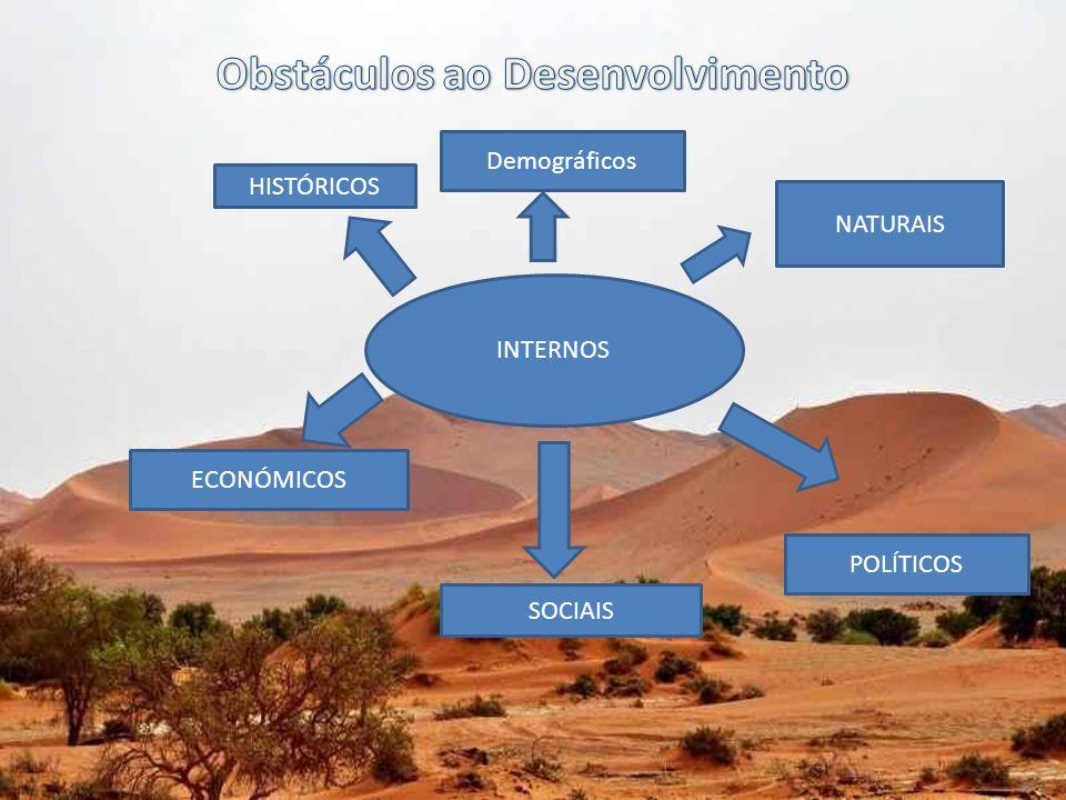 OBSTÁCULOS INTERNOS NATURAIS -Degradação dos solos devido às queimadas e à Sobreexploração -Secas / Inundações / Furacões DEMOGRÁFICAS -Sida - Ausência de politicas de Planeamento familiar -Crescimento explosivo -CARÊNCIAS ALIMENTARES Substituição da produção local, muitas vezes policultural, por culturas de exportação.