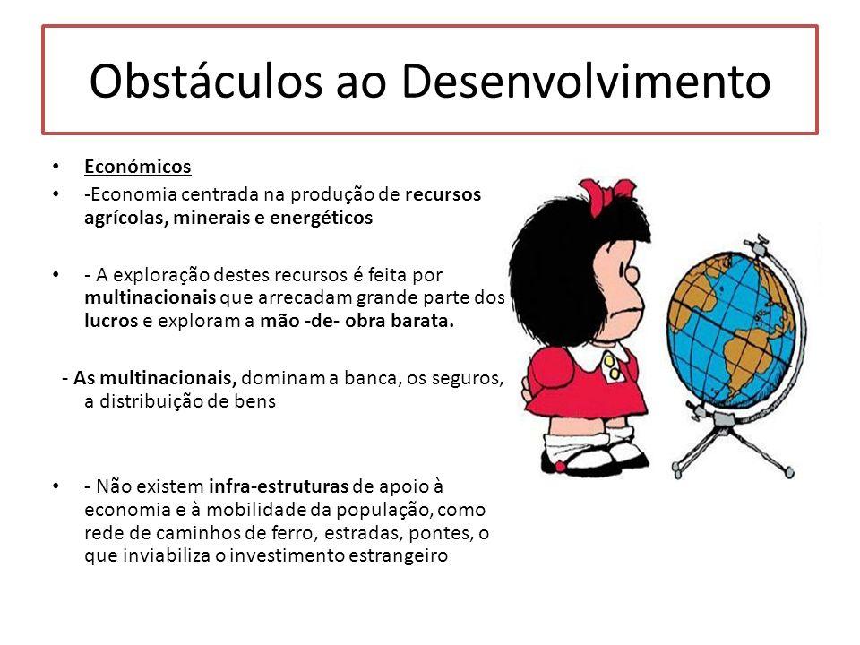 Obstáculos ao Desenvolvimento Económicos -Economia centrada na produção de recursos agrícolas, minerais e energéticos - A exploração destes recursos é