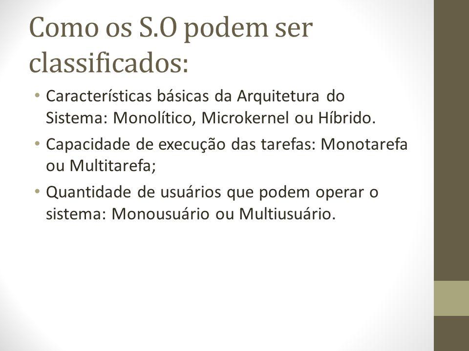 Como os S.O podem ser classificados: Características básicas da Arquitetura do Sistema: Monolítico, Microkernel ou Híbrido.