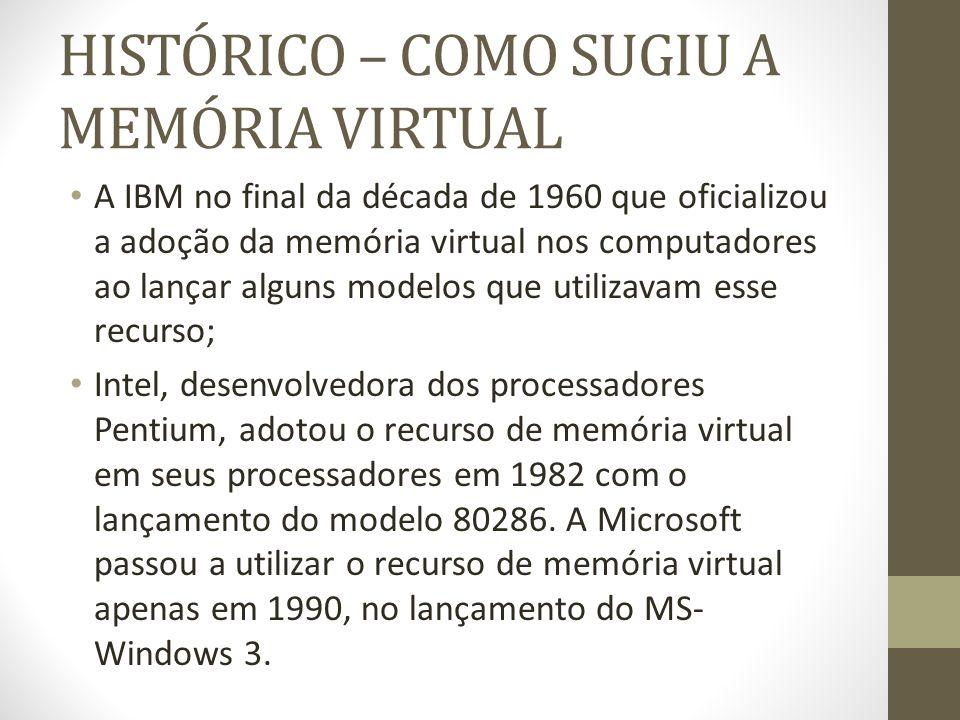 HISTÓRICO – COMO SUGIU A MEMÓRIA VIRTUAL A IBM no final da década de 1960 que oficializou a adoção da memória virtual nos computadores ao lançar alguns modelos que utilizavam esse recurso; Intel, desenvolvedora dos processadores Pentium, adotou o recurso de memória virtual em seus processadores em 1982 com o lançamento do modelo 80286.