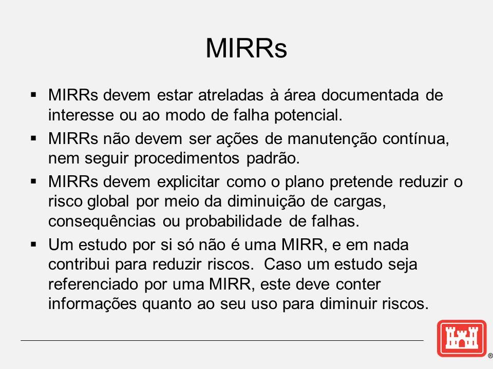 MIRRs devem estar atreladas à área documentada de interesse ou ao modo de falha potencial. MIRRs não devem ser ações de manutenção contínua, nem segui