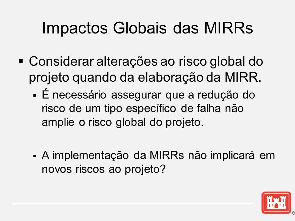 Impactos Globais das MIRRs Considerar alterações ao risco global do projeto quando da elaboração da MIRR. É necessário assegurar que a redução do risc