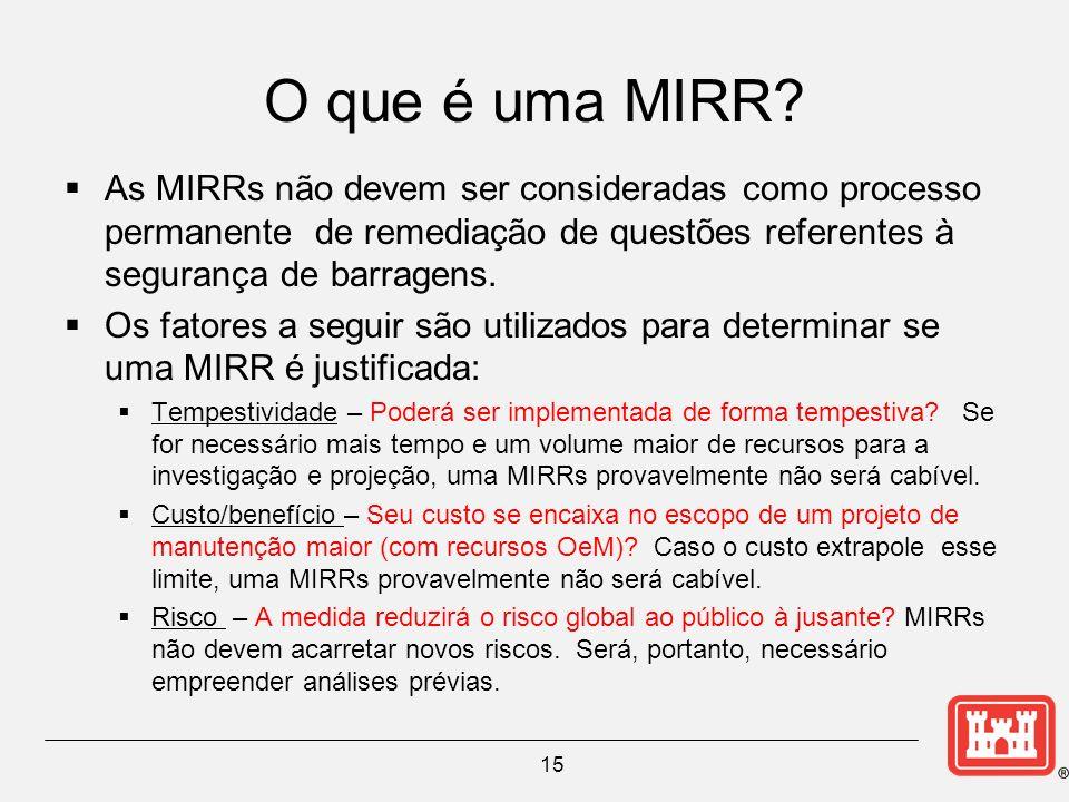 O que é uma MIRR? As MIRRs não devem ser consideradas como processo permanente de remediação de questões referentes à segurança de barragens. Os fator