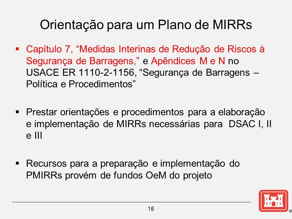 16 Orientação para um Plano de MIRRs Capítulo 7, Medidas Interinas de Redução de Riscos à Segurança de Barragens, e Apêndices M e N no USACE ER 1110-2-1156, Segurança de Barragens – Política e Procedimentos Prestar orientações e procedimentos para a elaboração e implementação de MIRRs necessárias para DSAC I, II e III Recursos para a preparação e implementação do PMIRRs provém de fundos OeM do projeto