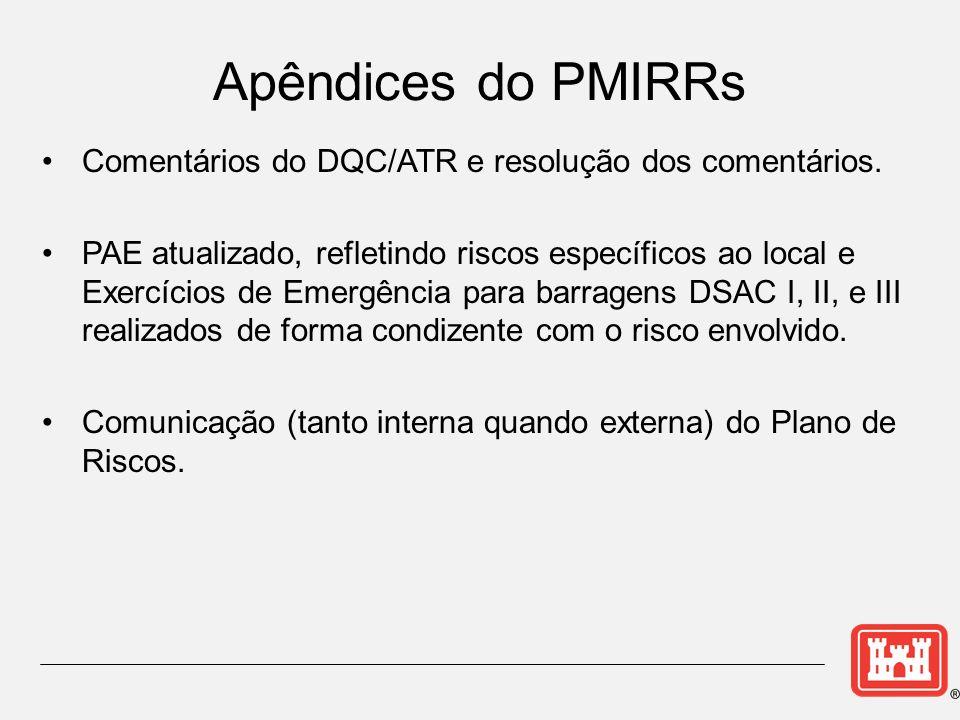Comentários do DQC/ATR e resolução dos comentários. PAE atualizado, refletindo riscos específicos ao local e Exercícios de Emergência para barragens D