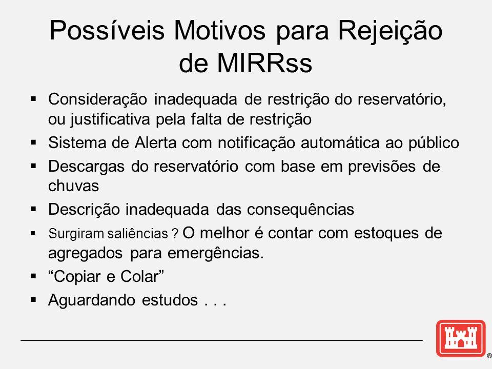 Possíveis Motivos para Rejeição de MIRRss Consideração inadequada de restrição do reservatório, ou justificativa pela falta de restrição Sistema de Al