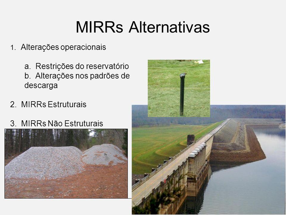 1. Alterações operacionais a. Restrições do reservatório b. Alterações nos padrões de descarga 2. MIRRs Estruturais 3. MIRRs Não Estruturais MIRRs Alt