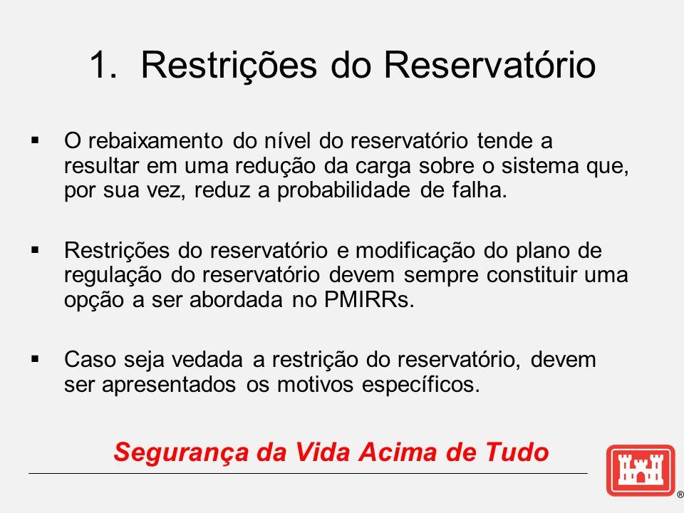 O rebaixamento do nível do reservatório tende a resultar em uma redução da carga sobre o sistema que, por sua vez, reduz a probabilidade de falha. Res