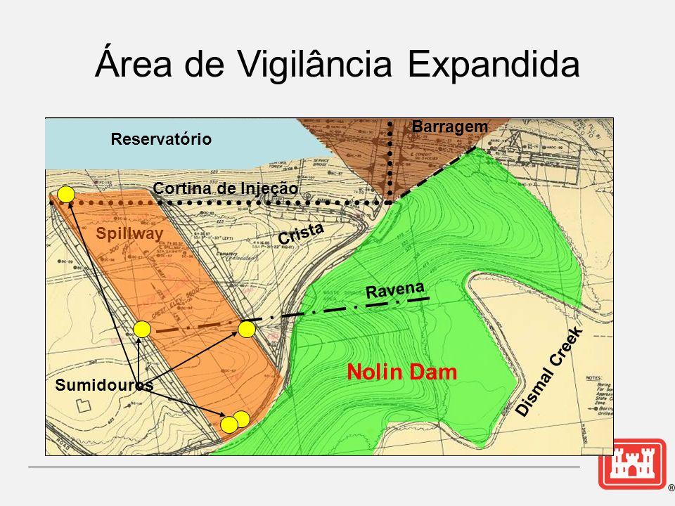 Crista Cortina de Injeção Spillway Ravena Dismal Creek Barragem Reservatório Sumidouros Área de Vigilância Expandida Nolin Dam