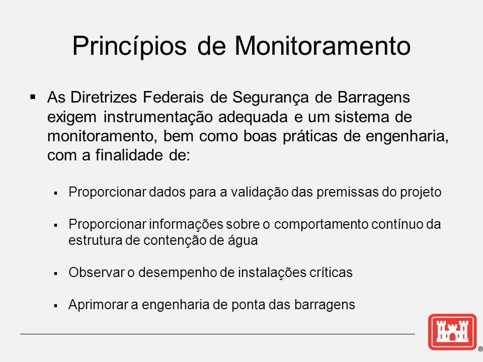 As Diretrizes Federais de Segurança de Barragens exigem instrumentação adequada e um sistema de monitoramento, bem como boas práticas de engenharia, c