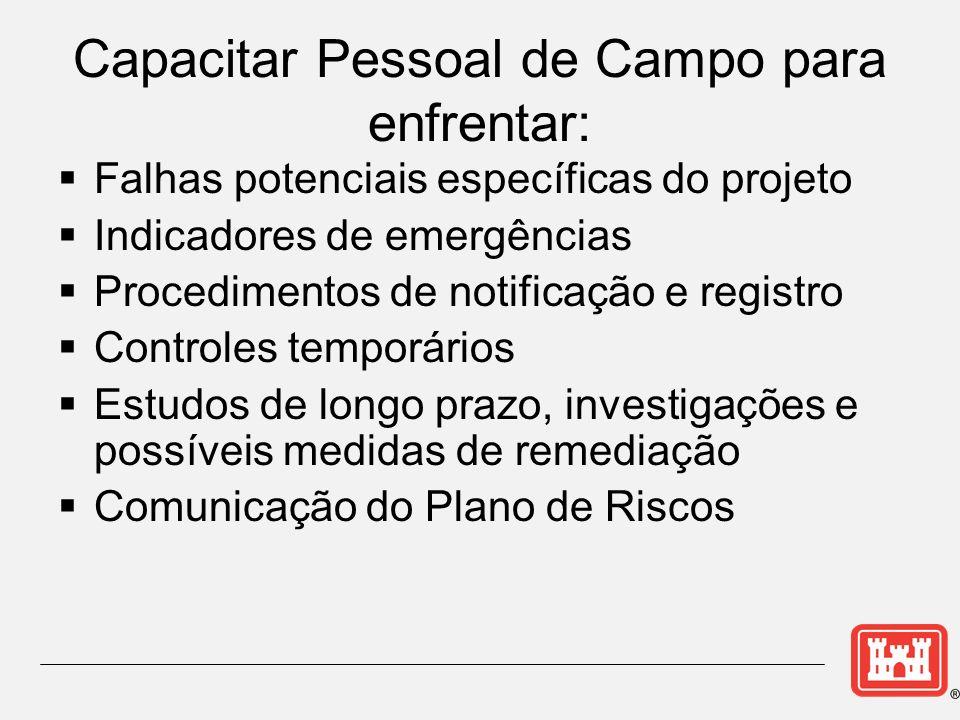 Falhas potenciais específicas do projeto Indicadores de emergências Procedimentos de notificação e registro Controles temporários Estudos de longo pra