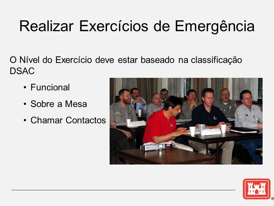O Nível do Exercício deve estar baseado na classificação DSAC Funcional Sobre a Mesa Chamar Contactos Realizar Exercícios de Emergência