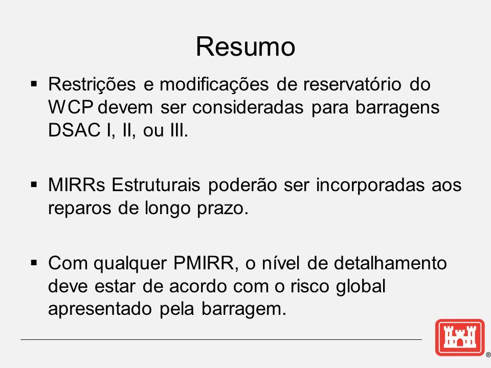 Restrições e modificações de reservatório do WCP devem ser consideradas para barragens DSAC I, II, ou III.
