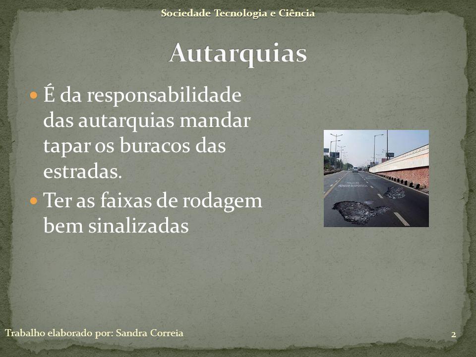 Sociedade Tecnologia e Ciência Trabalho elaborado por: Sandra Correia 2 É da responsabilidade das autarquias mandar tapar os buracos das estradas. Ter