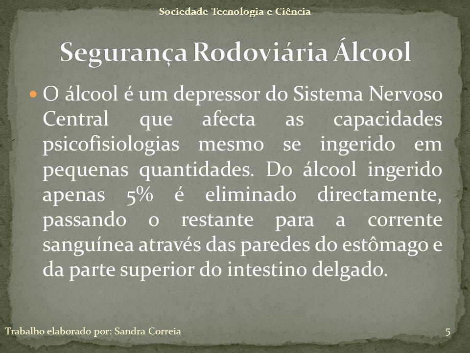 O álcool é um depressor do Sistema Nervoso Central que afecta as capacidades psicofisiologias mesmo se ingerido em pequenas quantidades. Do álcool ing