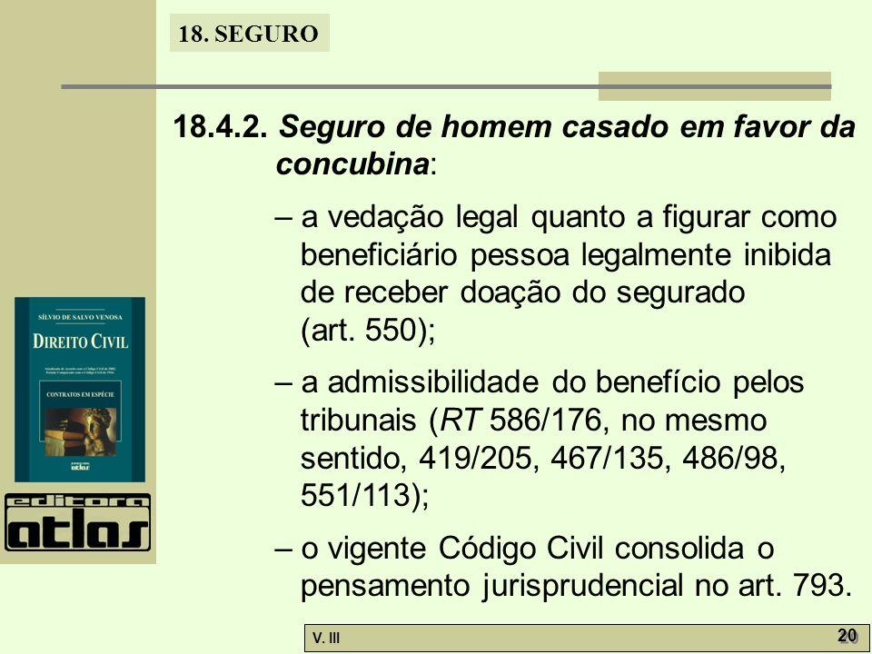 18. SEGURO V. III 20 18.4.2. Seguro de homem casado em favor da concubina: – a vedação legal quanto a figurar como beneficiário pessoa legalmente inib